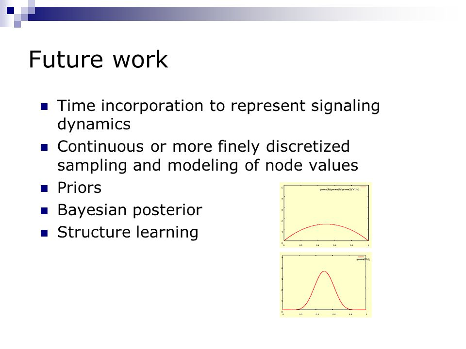 Future work Time incorporation to represent signaling dynamics Continuous or more finely discretized sampling and modeling of node values Priors Bayesian posterior Structure learning