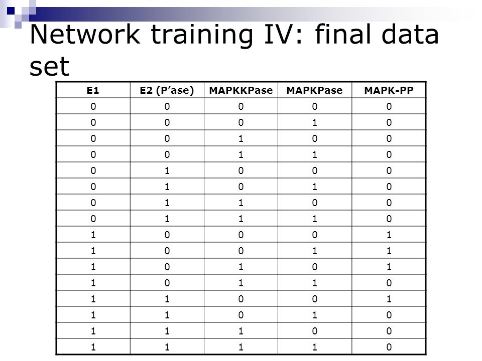 Network training IV: final data set E1E2 (P'ase)MAPKKPaseMAPKPaseMAPK-PP 00000 00010 00100 00110 01000 01010 01100 01110 10001 10011 10101 10110 11001 11010 11100 11110