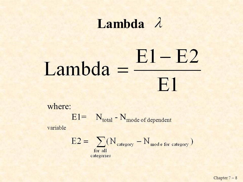 Chapter 7 – 8 Lambda where: E1=N total - N mode of dependent variable