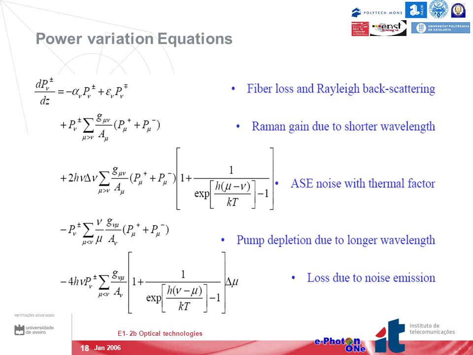 18 E1- 2b Optical technologies Jan 2006 Power variation Equations
