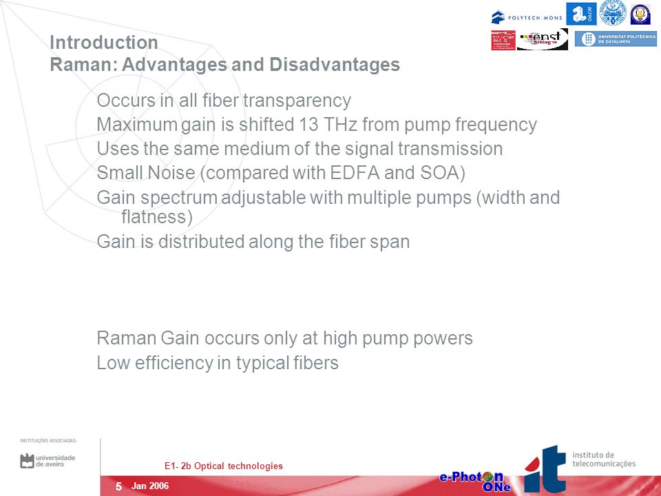5 E1- 2b Optical technologies Jan 2006 Introduction Raman: Advantages and Disadvantages Occurs in all fiber transparency Maximum gain is shifted 13 TH
