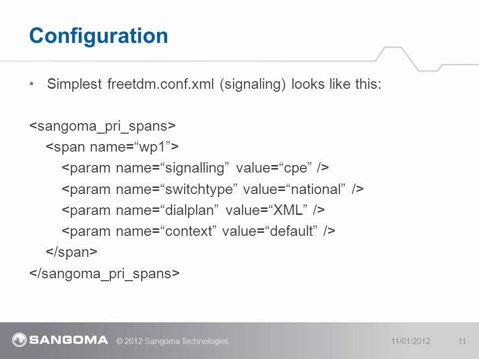 Simplest freetdm.conf.xml (signaling) looks like this: Configuration 11/01/2012© 2012 Sangoma Technologies11