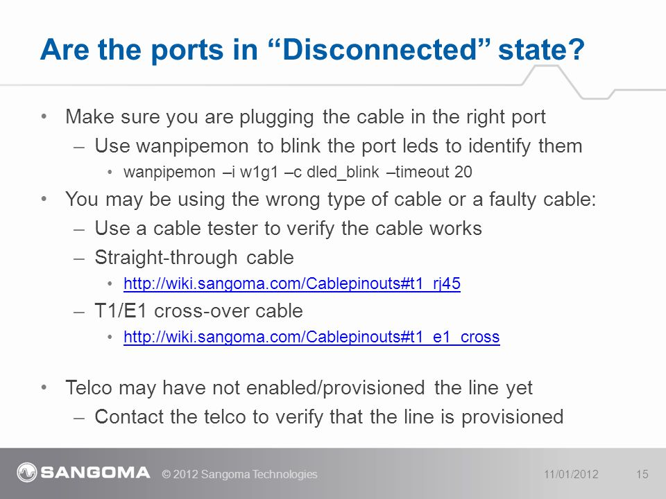 Make sure you are plugging the cable in the right port –Use wanpipemon to blink the port leds to identify them wanpipemon –i w1g1 –c dled_blink –timeo