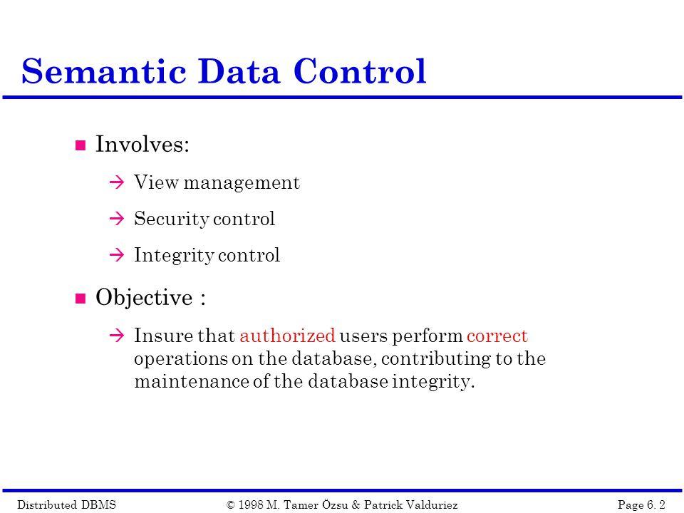 Distributed DBMSPage 6.13© 1998 M.