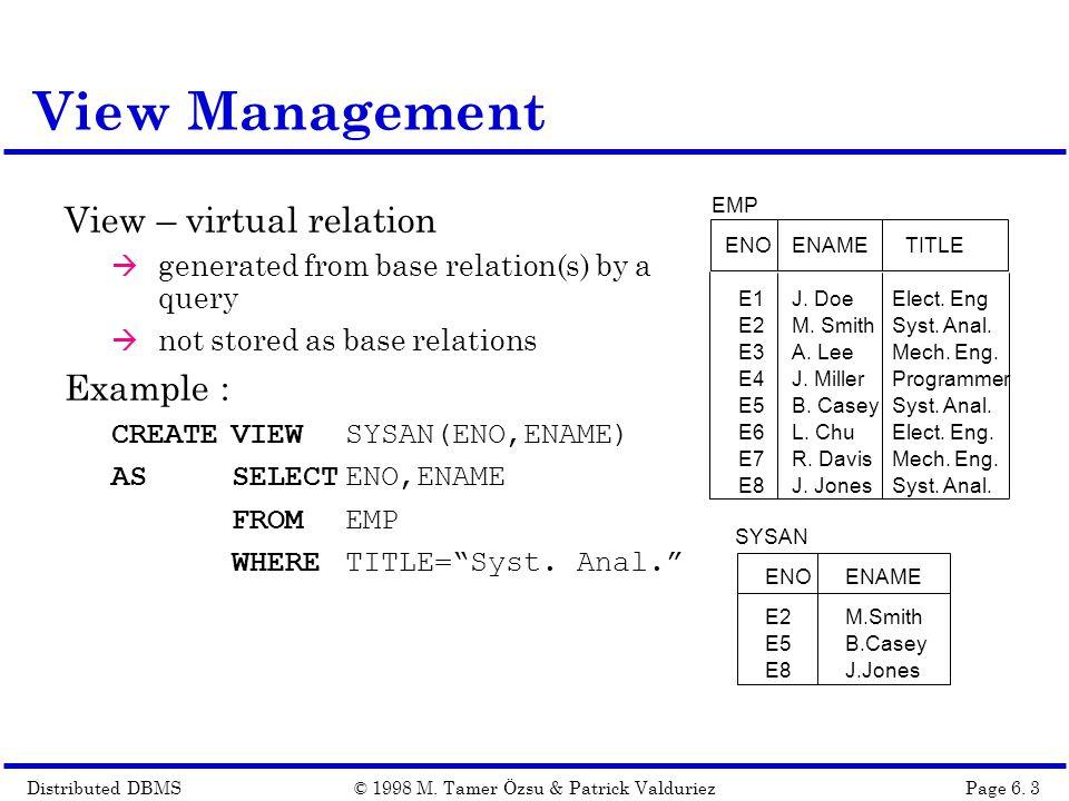 Distributed DBMSPage 6.14© 1998 M.
