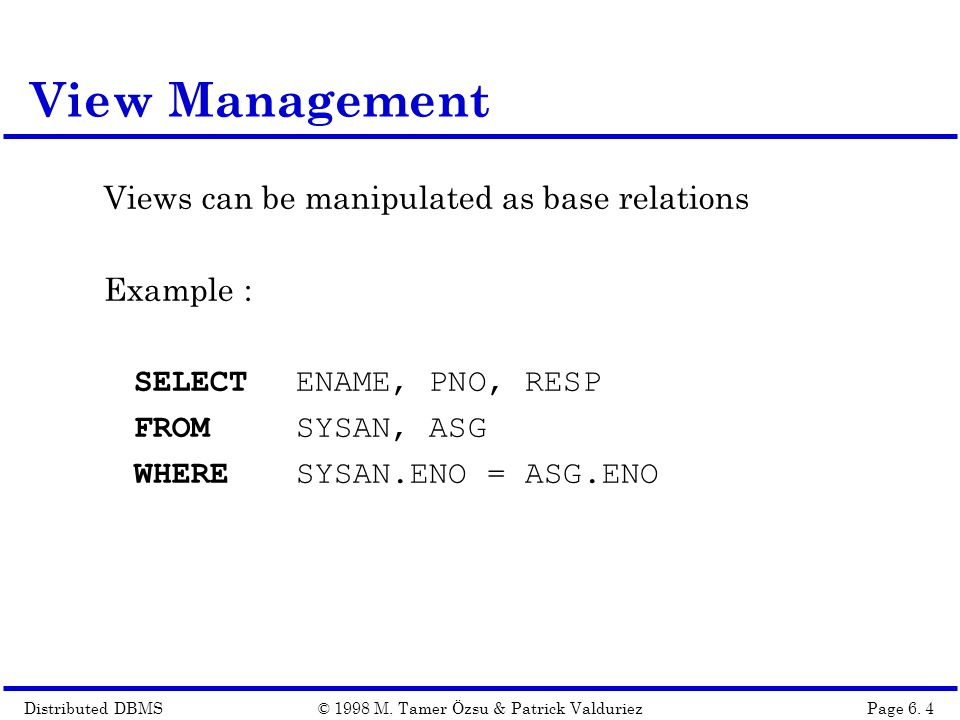 Distributed DBMSPage 6.15© 1998 M.