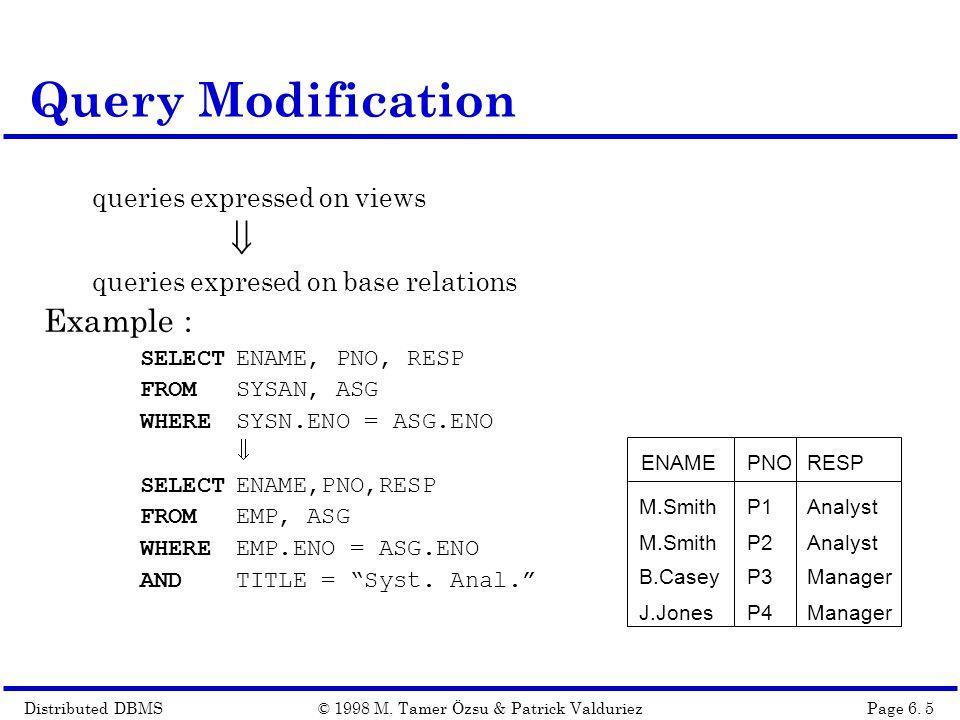Distributed DBMSPage 6.16© 1998 M.