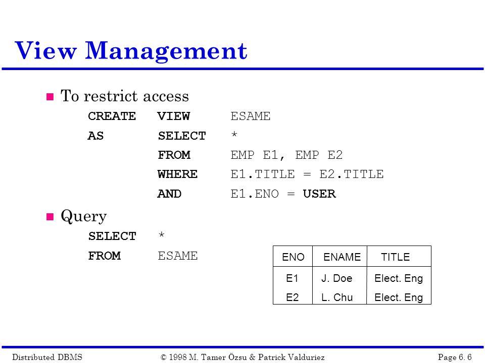 Distributed DBMSPage 6.17© 1998 M.