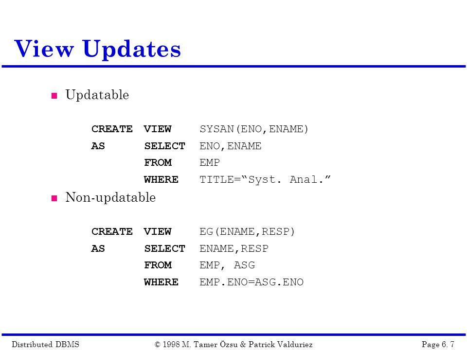 Distributed DBMSPage 6.18© 1998 M.
