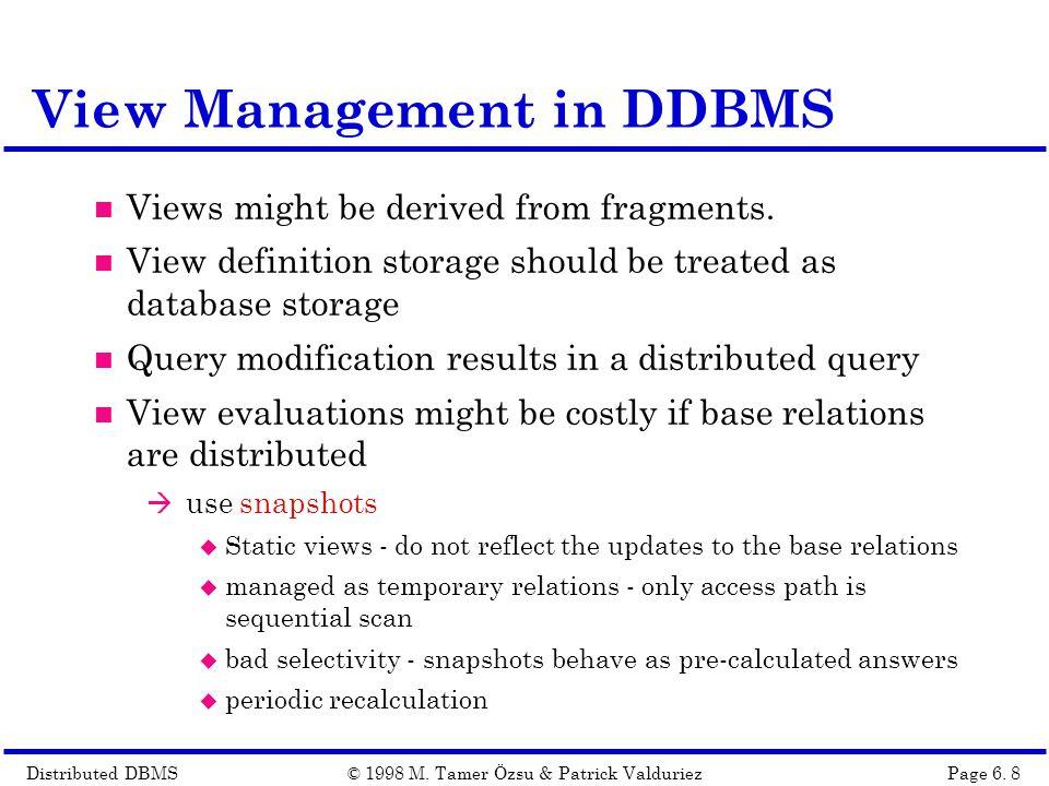 Distributed DBMSPage 6.19© 1998 M.