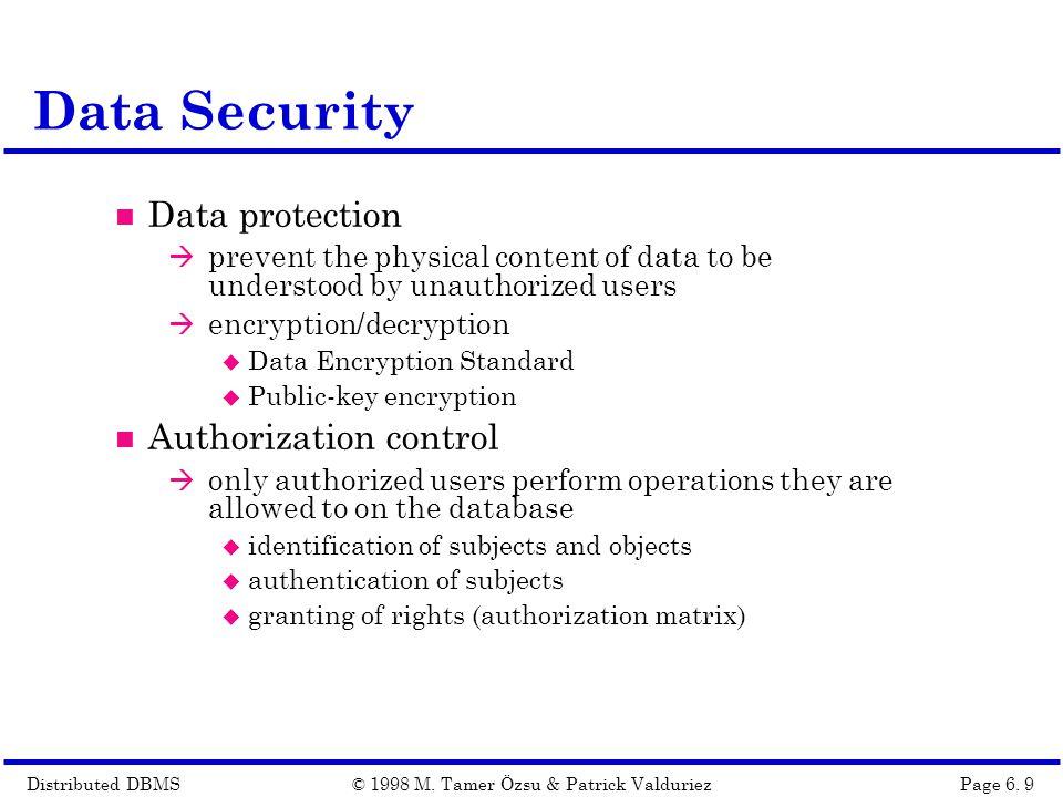Distributed DBMSPage 6.20© 1998 M.