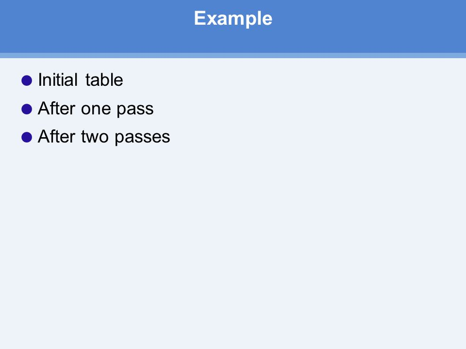 Example  Initial table  After one pass  After two passes