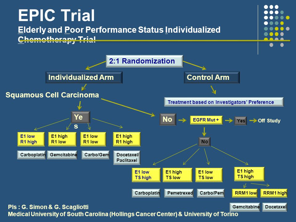 EPIC Trial Elderly and Poor Performance Status Individualized Chemotherapy Trial 2:1 Randomization Individualized ArmControl Arm Squamous Cell Carcinoma Ye s No EGFR Mut + Off Study E1 low R1 high E1 high R1 low E1 low R1 low E1 high R1 high CarboplatinGemcitabineCarbo/GemDocetaxel/ Paclitaxel E1 low TS high E1 high TS low E1 low TS low E1 high TS high CarboplatinPemetrexedCarbo/Pem Yes No RRM1 lowRRM1 high GemcitabineDocetaxel Treatment based on Investigators' Preference PIs : G.