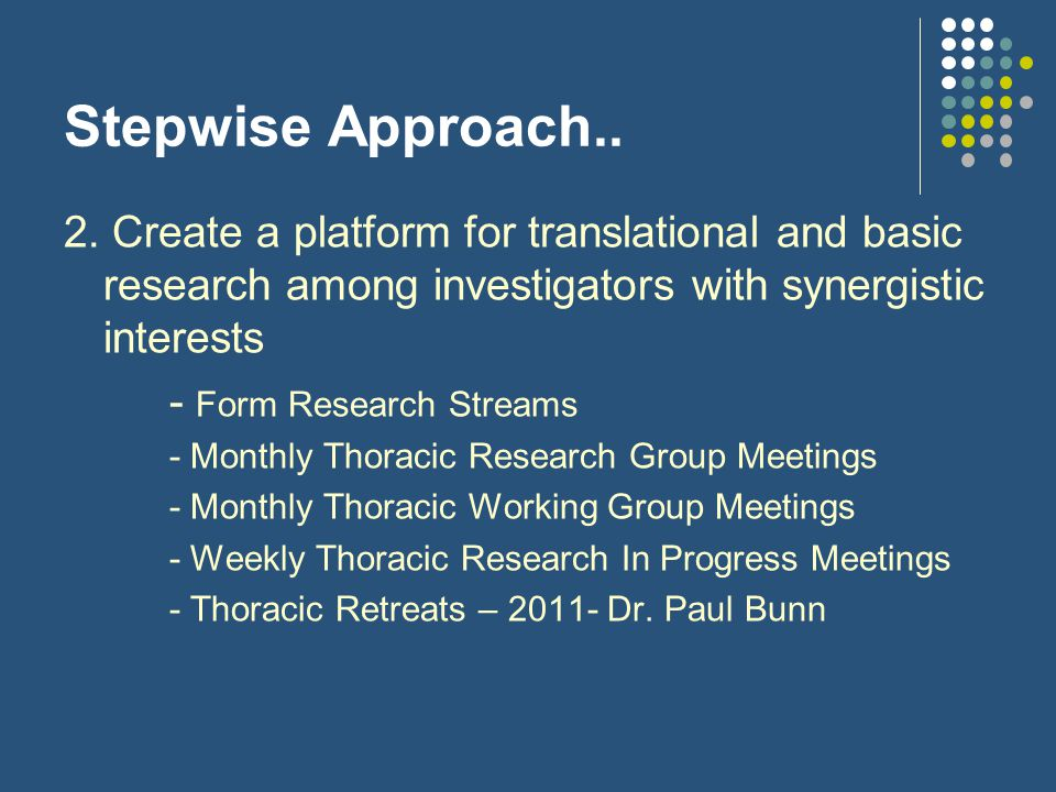 Stepwise Approach….3. Grant Applications..