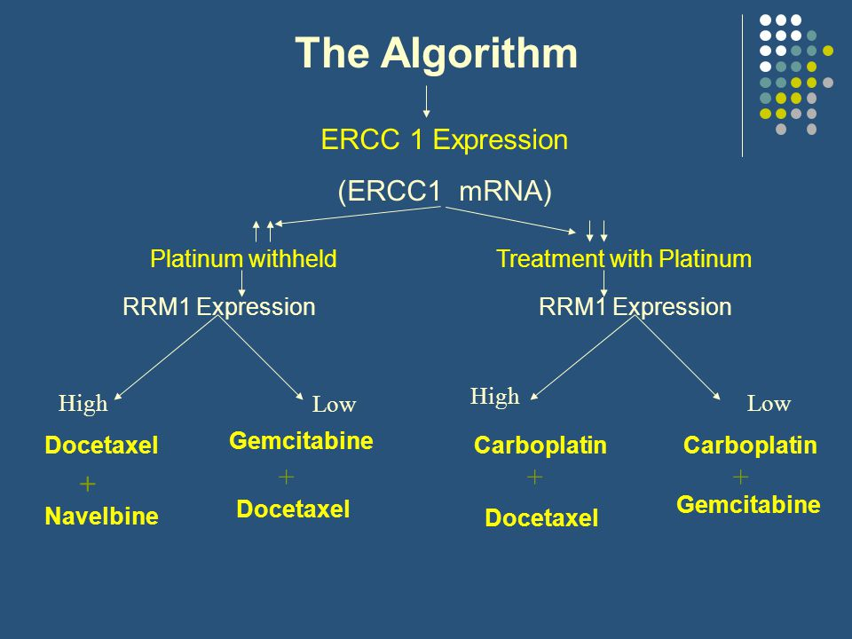 The Algorithm ERCC 1 Expression (ERCC1 mRNA) Platinum withheldTreatment with Platinum RRM1 Expression Docetaxel Gemcitabine Navelbine Docetaxel Carboplatin Docetaxel + +++ RRM1 Expression Carboplatin Gemcitabine High Low High Low