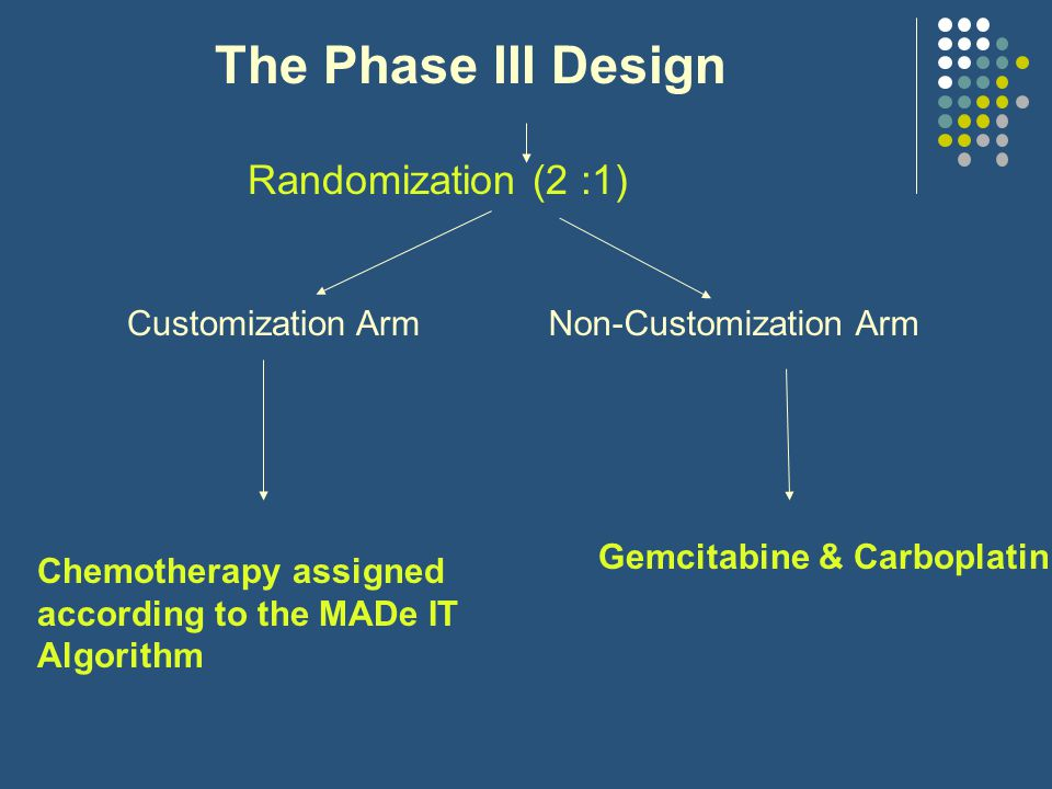 The Phase III Design Randomization (2 :1) Customization ArmNon-Customization Arm Chemotherapy assigned according to the MADe IT Algorithm Gemcitabine