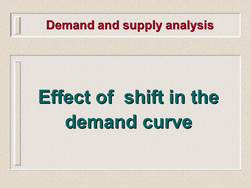 Demand and supply analysis Effect of shift in the demand curve