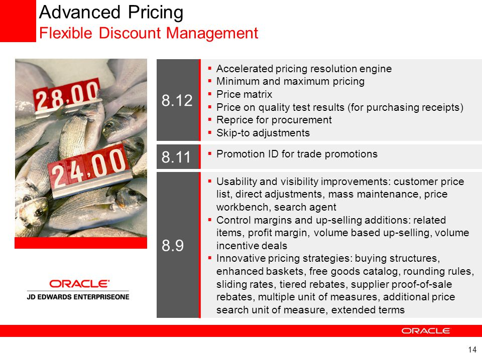 14 Advanced Pricing Flexible Discount Management 8.9  Usability and visibility improvements: customer price list, direct adjustments, mass maintenanc