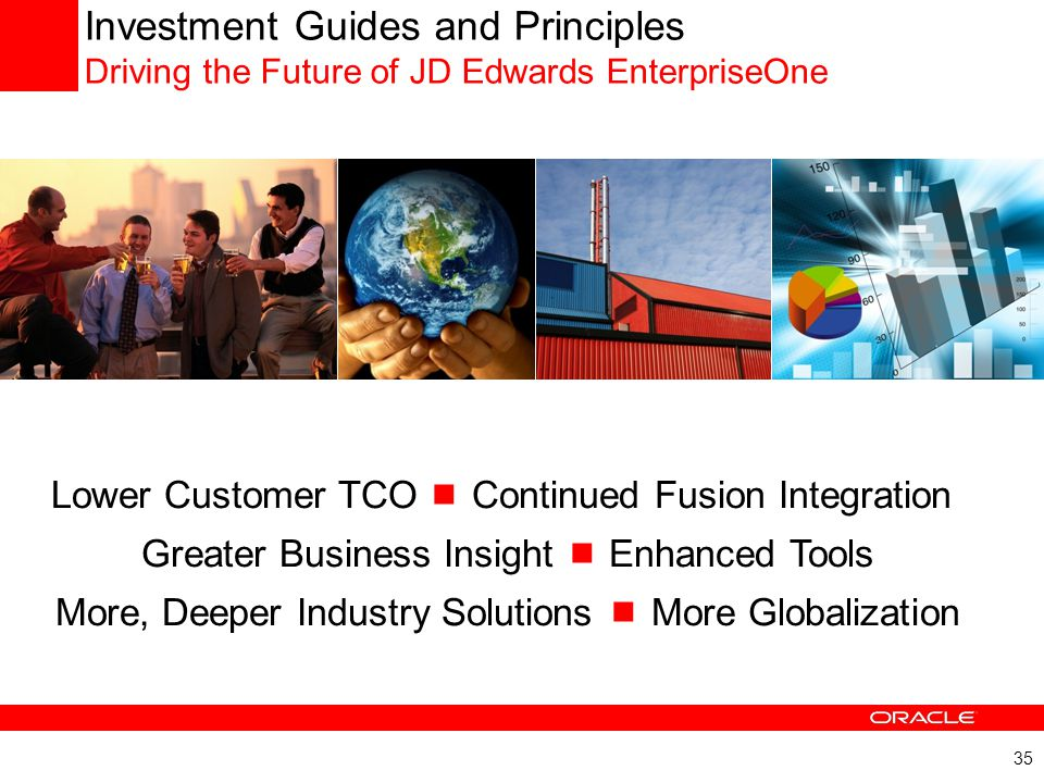 35 Investment Guides and Principles Driving the Future of JD Edwards EnterpriseOne Lower Customer TCO  Continued Fusion Integration Greater Business