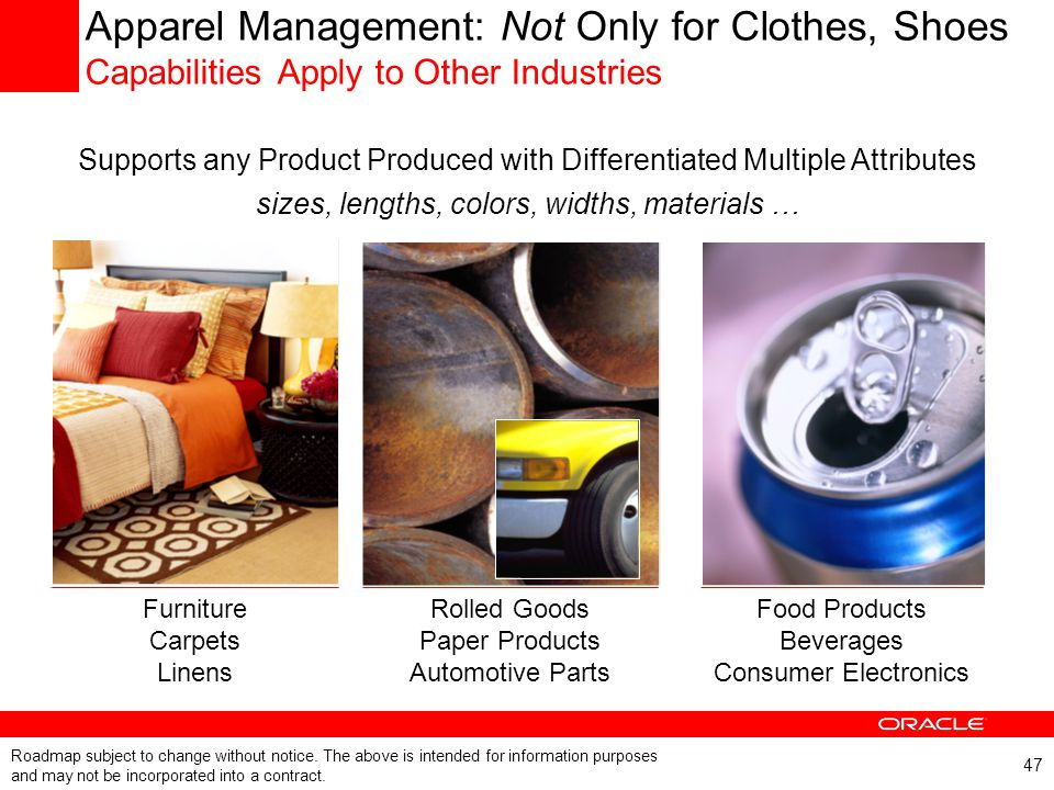 47 Apparel Management: Not Only for Clothes, Shoes Capabilities Apply to Other Industries Furniture Carpets Linens Rolled Goods Paper Products Automot