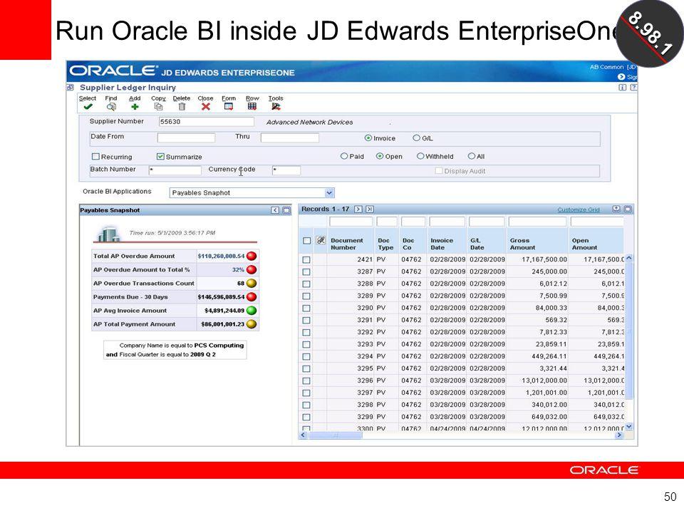 50 Run Oracle BI inside JD Edwards EnterpriseOne8.98.1