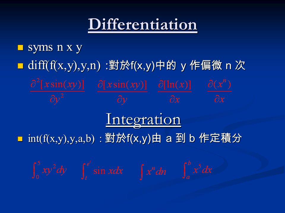 Differentiation syms n x y syms n x y diff(f(x,y),y,n) : 對於 f(x,y) 中的 y 作偏微 n 次 diff(f(x,y),y,n) : 對於 f(x,y) 中的 y 作偏微 n 次Integration int(f(x,y),y,a,b) : 對於 f(x,y) 由 a 到 b 作定積分 int(f(x,y),y,a,b) : 對於 f(x,y) 由 a 到 b 作定積分