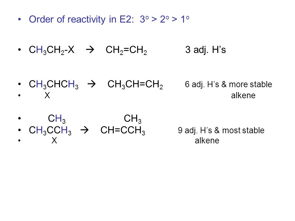Order of reactivity in E2: 3 o > 2 o > 1 o CH 3 CH 2 -X  CH 2 =CH 2 3 adj.