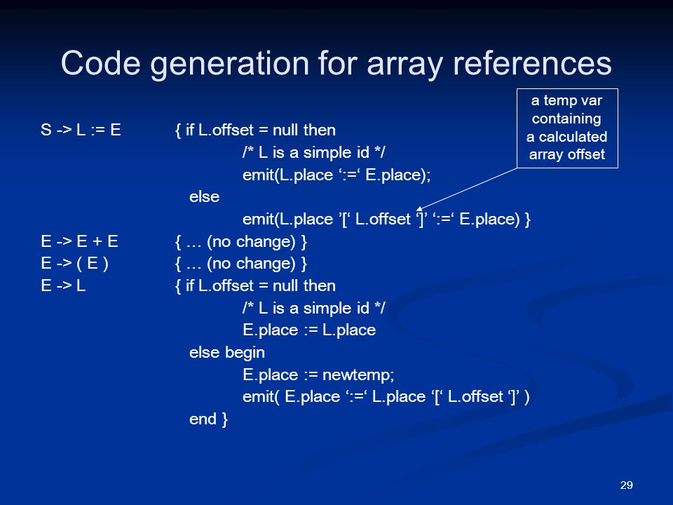 29 Code generation for array references S -> L := E { if L.offset = null then /* L is a simple id */ emit(L.place ':=' E.place); else emit(L.place '[' L.offset ']' ':=' E.place) } E -> E + E { … (no change) } E -> ( E ) { … (no change) } E -> L { if L.offset = null then /* L is a simple id */ E.place := L.place else begin E.place := newtemp; emit( E.place ':=' L.place '[' L.offset ']' ) end } a temp var containing a calculated array offset