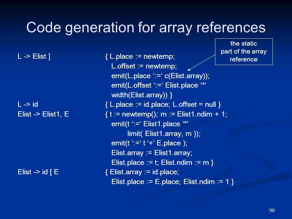30 Code generation for array references L -> Elist ] { L.place := newtemp; L.offset := newtemp; emit(L.place ':=' c(Elist.array)); emit(L.offset ':=' Elist.place '*' width(Elist.array)) } L -> id { L.place := id.place; L.offset = null } Elist -> Elist1, E { t := newtemp(); m := Elist1.ndim + 1; emit(t ':=' Elist1.place '*' limit( Elist1.array, m )); emit(t ':=' t '+' E.place ); Elist.array := Elist1.array; Elist.place := t; Elist.ndim := m } Elist -> id [ E { Elist.array := id.place; Elist.place := E.place; Elist.ndim := 1 } the static part of the array reference