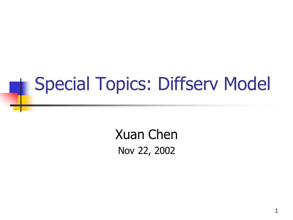 1 Special Topics: Diffserv Model Xuan Chen Nov 22, 2002