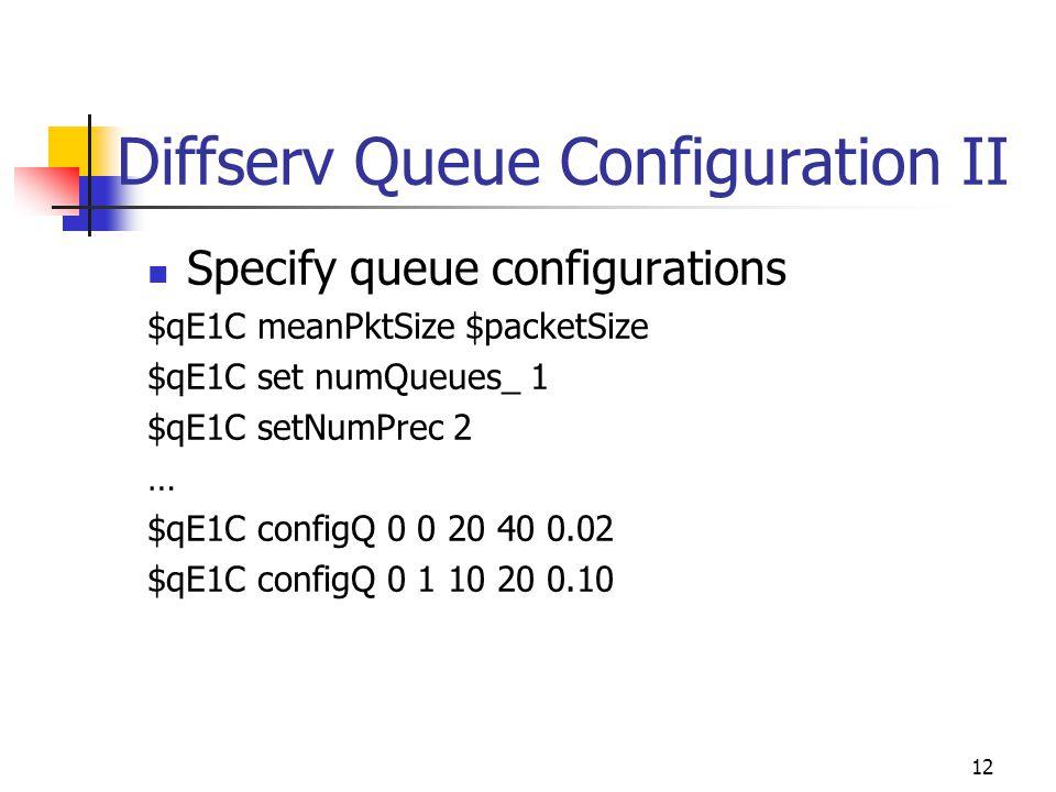 12 Diffserv Queue Configuration II Specify queue configurations $qE1C meanPktSize $packetSize $qE1C set numQueues_ 1 $qE1C setNumPrec 2 … $qE1C configQ 0 0 20 40 0.02 $qE1C configQ 0 1 10 20 0.10
