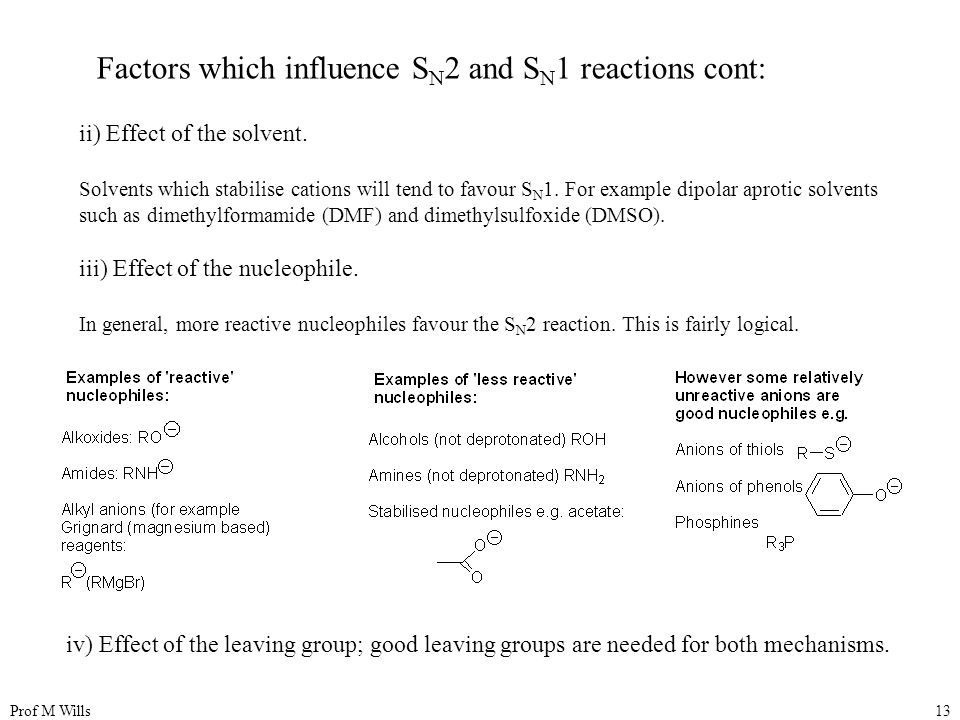 Prof M Wills13 ii) Effect of the solvent.