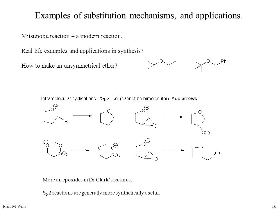Prof M Wills16 Examples of substitution mechanisms, and applications.