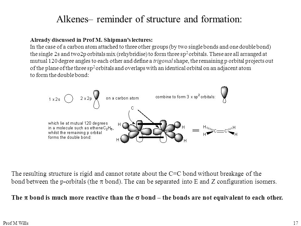 Prof M Wills17 Alkenes– reminder of structure and formation: Already discussed in Prof M.