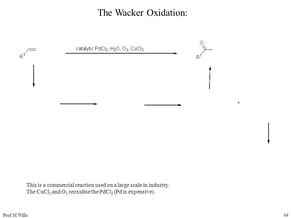 Prof M Wills49 The Wacker Oxidation: This is a commercial reaction used on a large scale in industry.