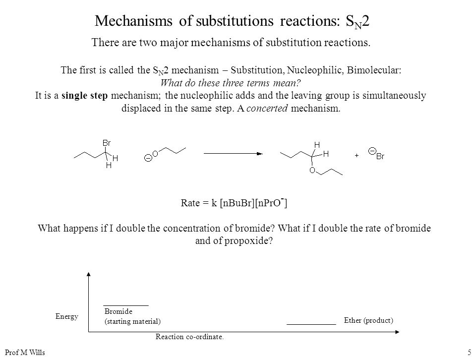 Prof M Wills5 Mechanisms of substitutions reactions: S N 2 There are two major mechanisms of substitution reactions.