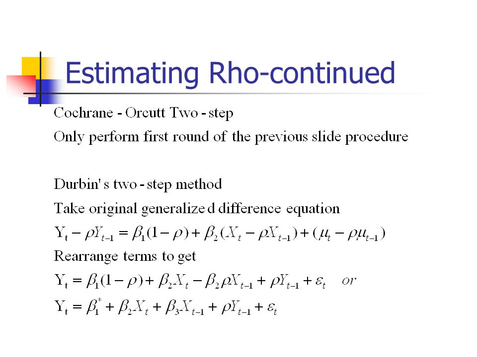 Estimating Rho-continued