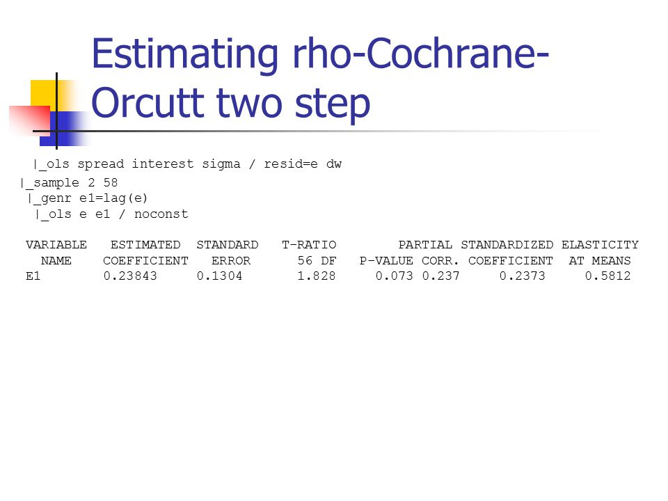 Estimating rho-Cochrane- Orcutt two step |_ols spread interest sigma / resid=e dw |_sample 2 58 |_genr e1=lag(e) |_ols e e1 / noconst VARIABLE ESTIMATED STANDARD T-RATIO PARTIAL STANDARDIZED ELASTICITY NAME COEFFICIENT ERROR 56 DF P-VALUE CORR.