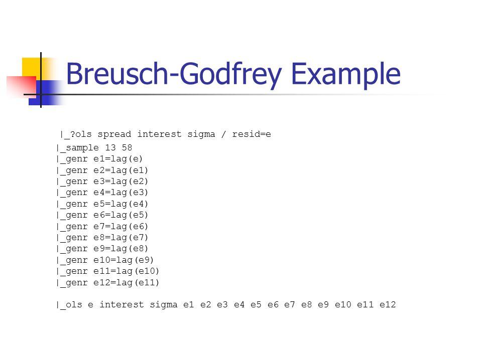 Breusch-Godfrey Example |_?ols spread interest sigma / resid=e |_sample 13 58 |_genr e1=lag(e) |_genr e2=lag(e1) |_genr e3=lag(e2) |_genr e4=lag(e3) |