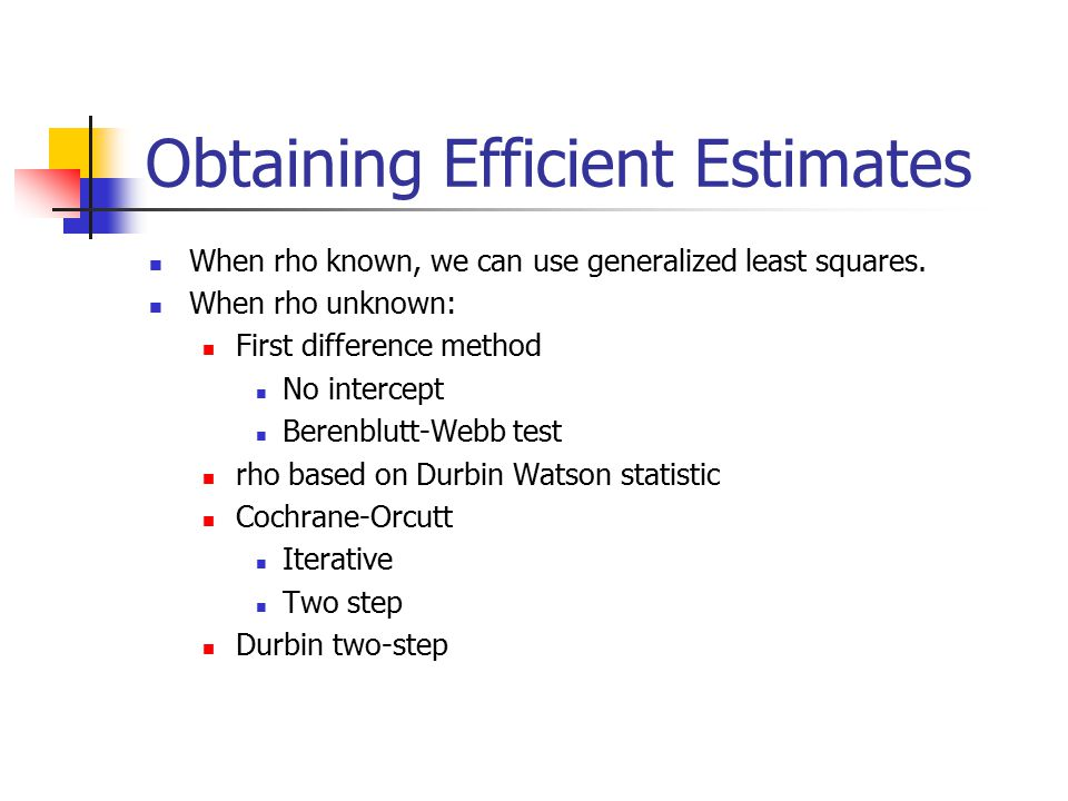 Obtaining Efficient Estimates When rho known, we can use generalized least squares.