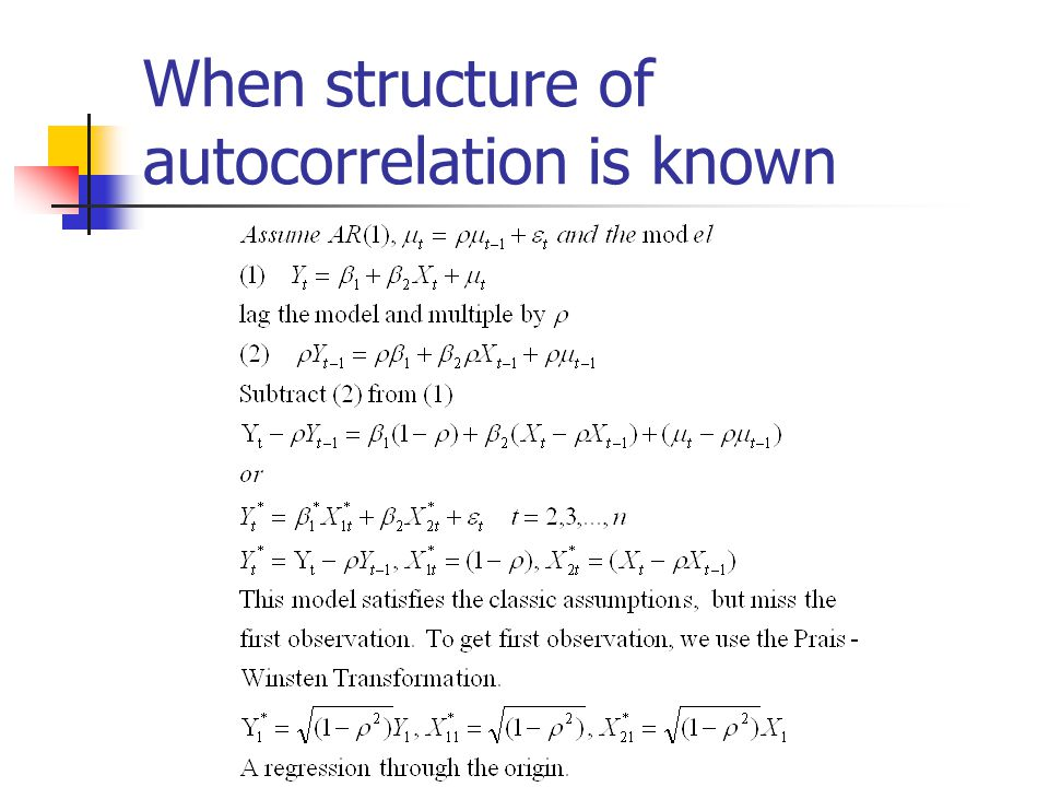 When structure of autocorrelation is known