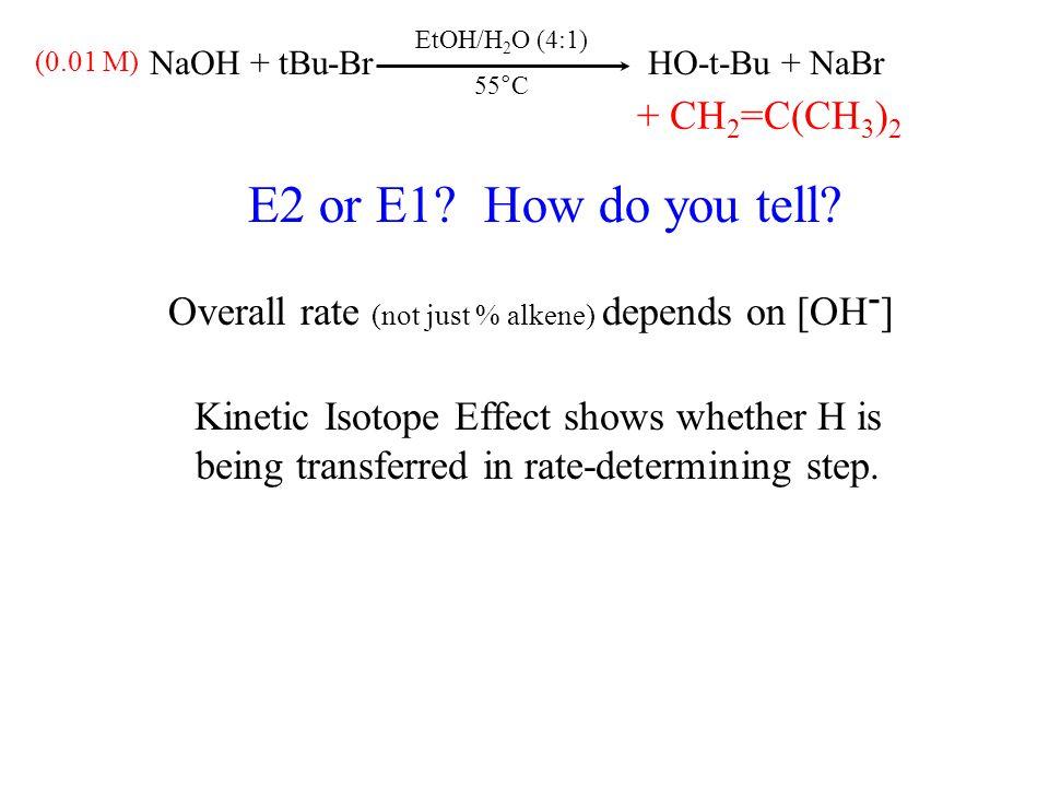 EtOH/H 2 O (4:1) 55°C NaOH + tBu-BrHO-t-Bu + NaBr (0.01 M) + CH 2 =C(CH 3 ) 2 E2 or E1.