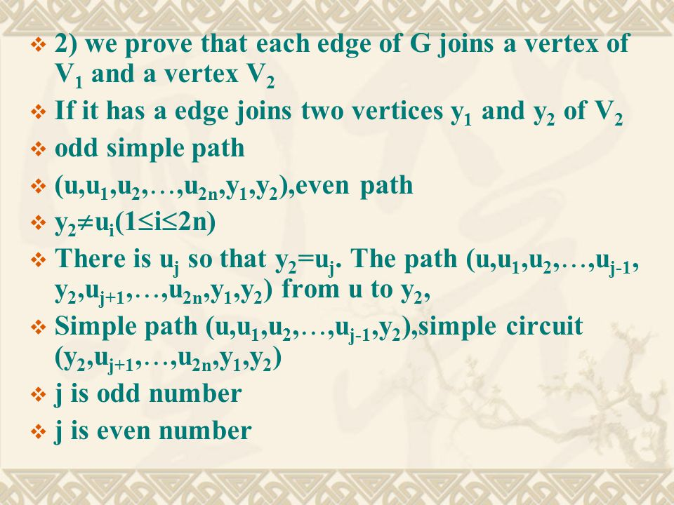  2) we prove that each edge of G joins a vertex of V 1 and a vertex V 2  If it has a edge joins two vertices y 1 and y 2 of V 2  odd simple path  (u,u 1,u 2, ,u 2n,y 1,y 2 ),even path  y 2  u i (1  i  2n)  There is u j so that y 2 =u j.