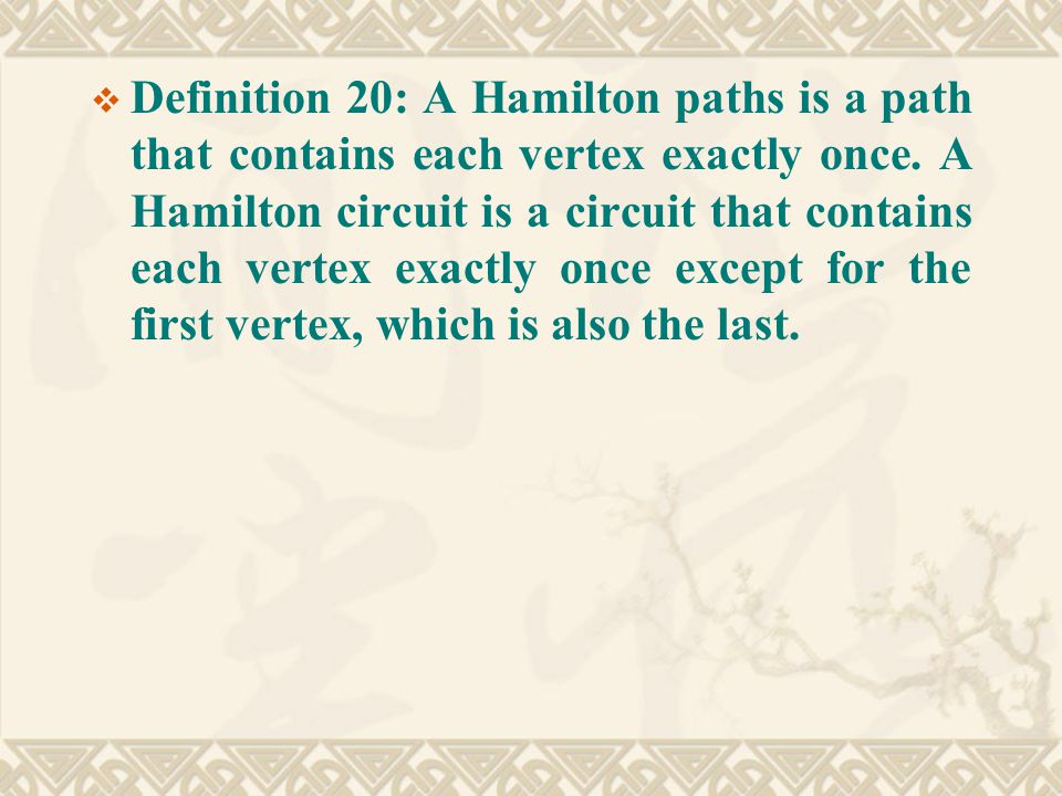  Definition 20: A Hamilton paths is a path that contains each vertex exactly once.
