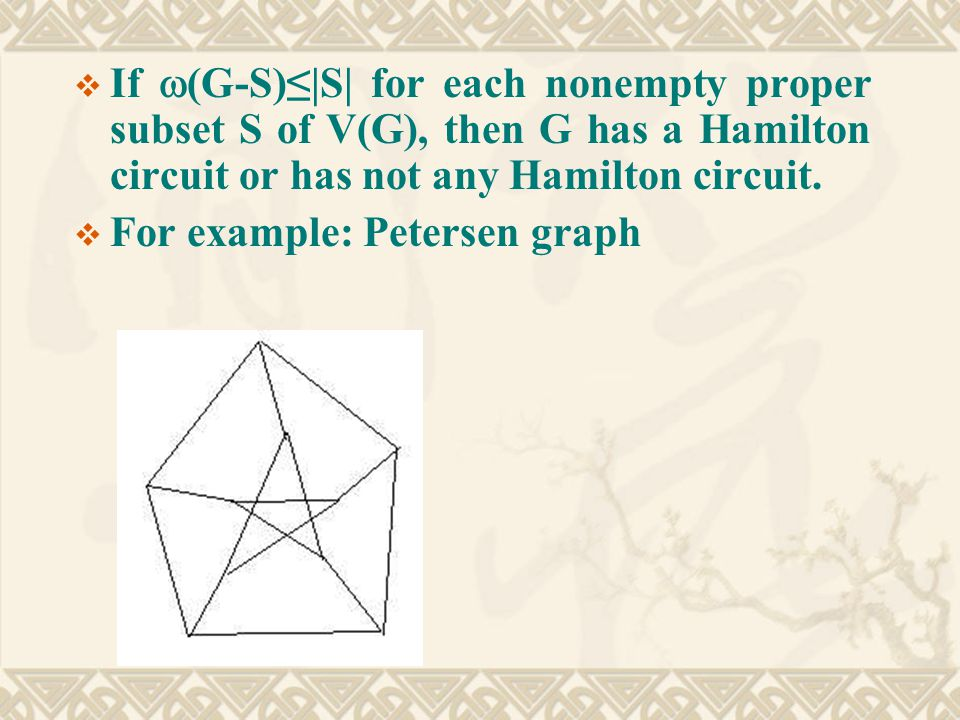  If  (G-S)≤|S| for each nonempty proper subset S of V(G), then G has a Hamilton circuit or has not any Hamilton circuit.