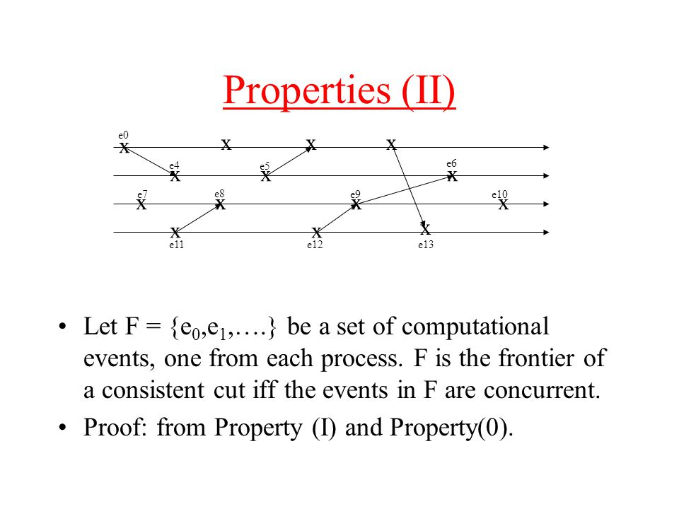 Properties (II) Let F = {e 0,e 1,….} be a set of computational events, one from each process.