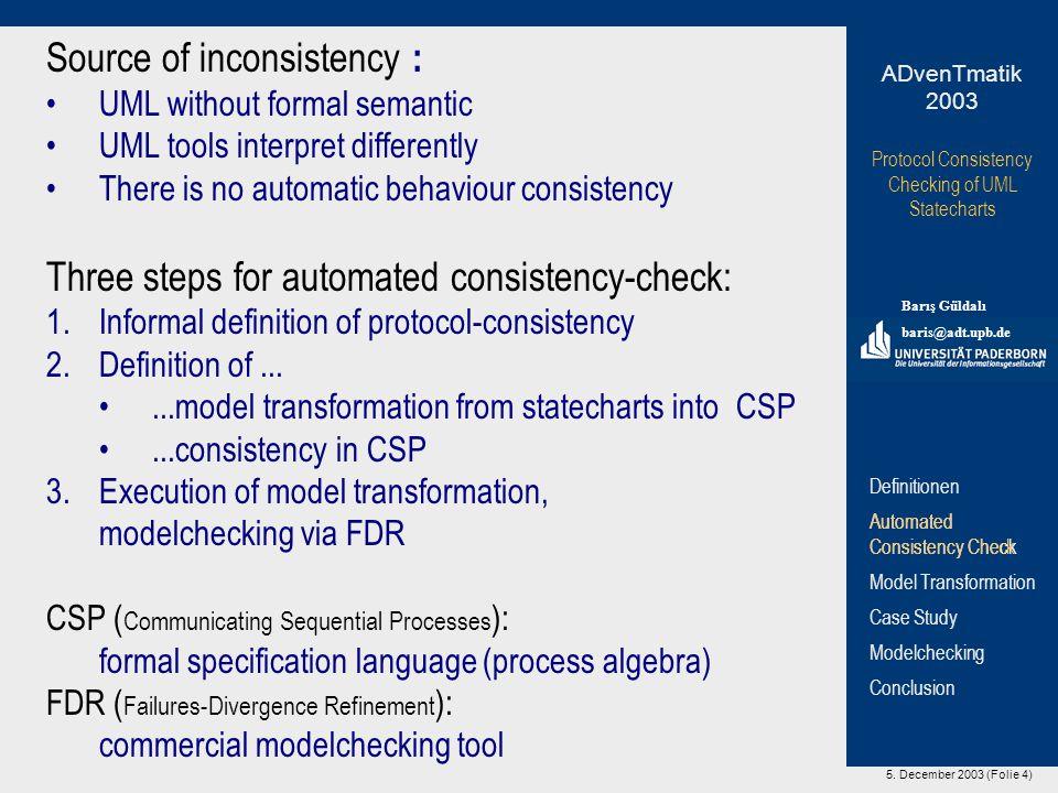 5. December 2003 (Folie 4) Protocol Consistency Checking of UML Statecharts Barış Güldalı baris@adt.upb.de ADvenTmatik 2003 Definitionen Automated Con