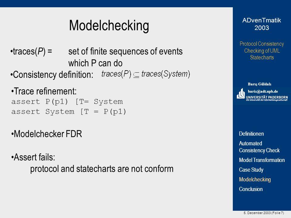 5. December 2003 (Folie 7) Protocol Consistency Checking of UML Statecharts Barış Güldalı baris@adt.upb.de ADvenTmatik 2003 Definitionen Automated Con