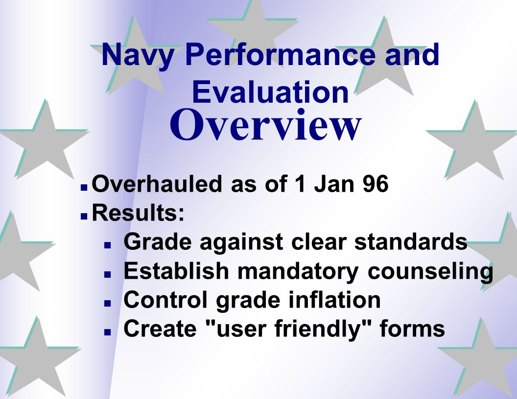 Navy Performance and Evaluation Overhauled as of 1 Jan 96 Results: Grade against clear standards Establish mandatory counseling Control grade inflatio