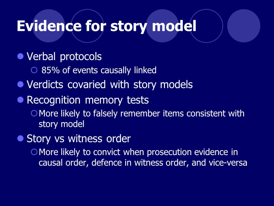 Evidence for story model Verbal protocols  85% of events causally linked Verdicts covaried with story models Recognition memory tests  More likely to falsely remember items consistent with story model Story vs witness order  More likely to convict when prosecution evidence in causal order, defence in witness order, and vice-versa